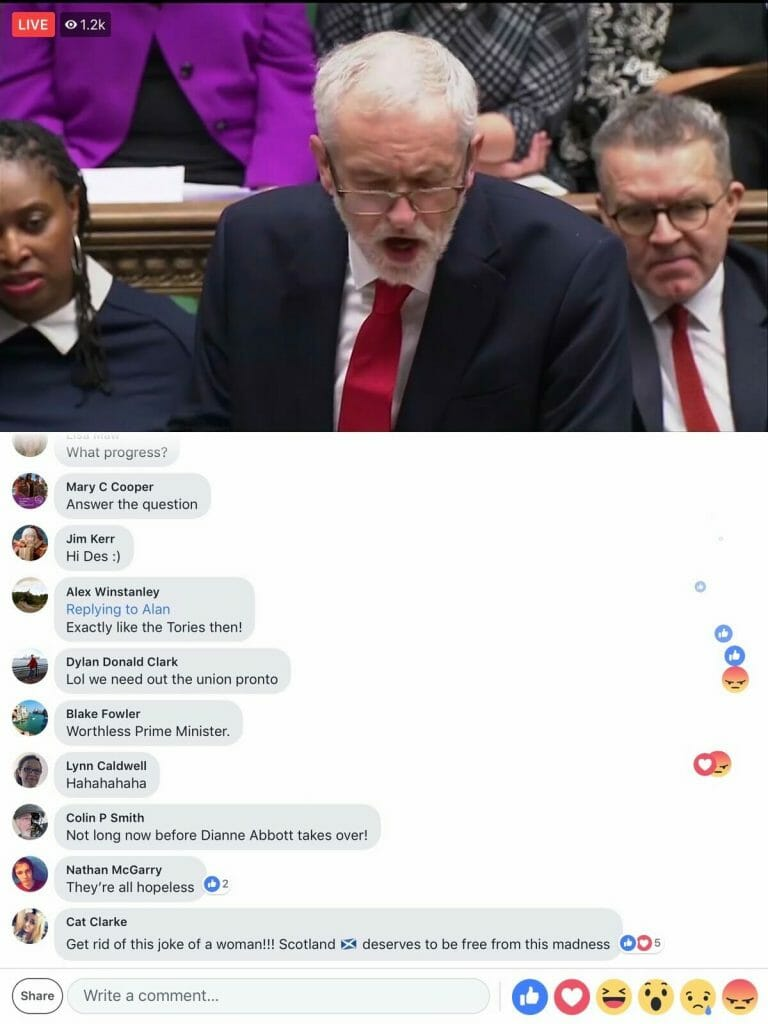 Facebook UK Parliament debate